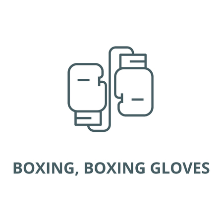 Boxing, boxing gloves line icon, vector. Boxing, boxing gloves outline sign, concept symbol, illustration