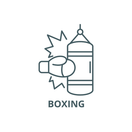 Boxing line icon, vector. Boxing outline sign, concept symbol, illustration