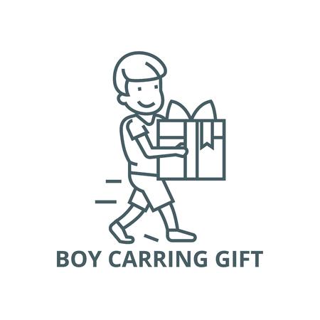 Boy carring gift line icon, vector. Boy carring gift outline sign, concept symbol, illustration