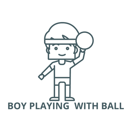 Boy playing  with ball line icon, vector. Boy playing  with ball outline sign, concept symbol, illustration Illustration
