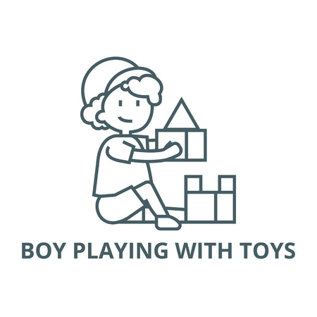 Boy playing with toys,box of bricks line icon, vector. Boy playing with toys,box of bricks outline sign, concept symbol, illustration Stockfoto - 123749401
