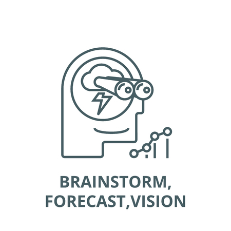 Brainstorm,forecast,vision line icon, vector. Brainstorm,forecast,vision outline sign, concept symbol, illustration