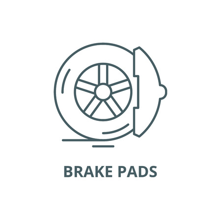 Icône de ligne de plaquettes de frein, vecteur. Plaquettes de frein contours signe, symbole de concept, illustration Vecteurs