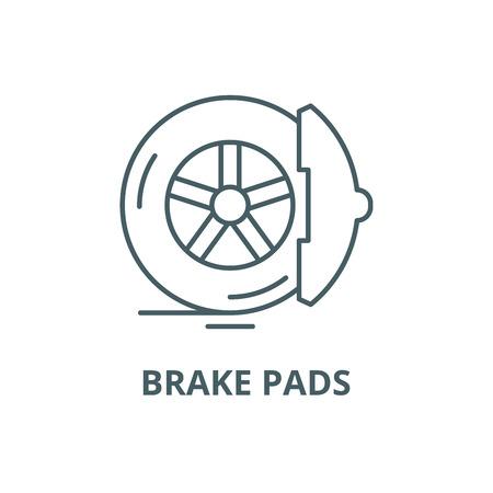 Brake pads line icon, vector. Brake pads outline sign, concept symbol, illustration