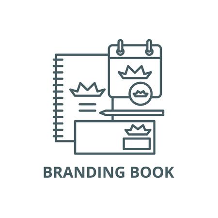 Branding book line icon, vector. Branding book outline sign, concept symbol, illustration Vettoriali