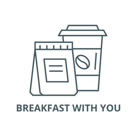 Breakfast with you line icon, vector. Breakfast with you outline sign, concept symbol, illustration Illustration