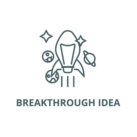 Breakthrough idea line icon, vector. Breakthrough idea outline sign, concept symbol, illustration Stok Fotoğraf - 120733687