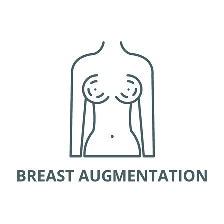 Breast augmentation line icon, vector. Breast augmentation outline sign, concept symbol, illustration  イラスト・ベクター素材