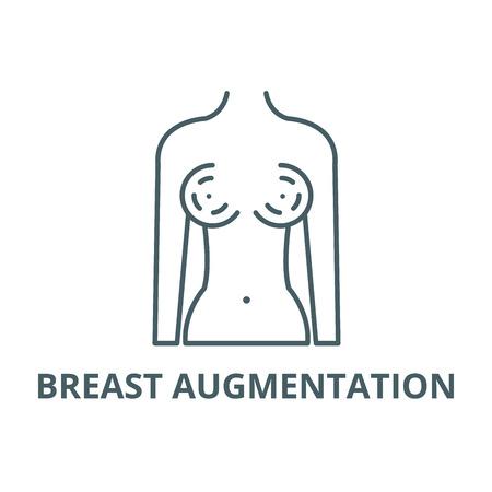 Breast augmentation line icon, vector. Breast augmentation outline sign, concept symbol, illustration 向量圖像