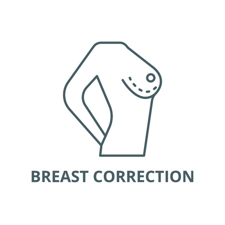 Breast correction line icon, vector. Breast correction outline sign, concept symbol, illustration