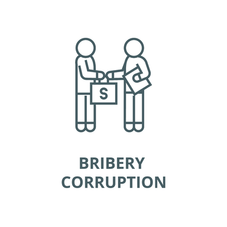 Bribery and corruption, man giving money line icon, vector. Bribery and corruption, man giving money outline sign, concept symbol, illustration