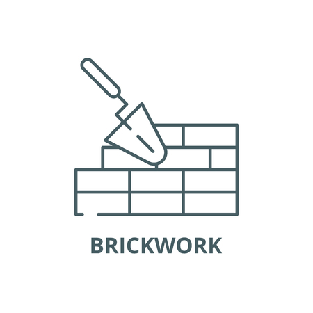 Brickwork line icon, vector. Brickwork outline sign, concept symbol, illustration