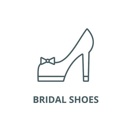 Bridal shoes line icon, vector. Bridal shoes outline sign, concept symbol, illustration Standard-Bild - 123749416
