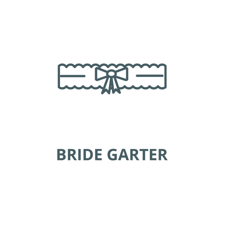 Bride garter line icon, vector. Bride garter outline sign, concept symbol, illustration