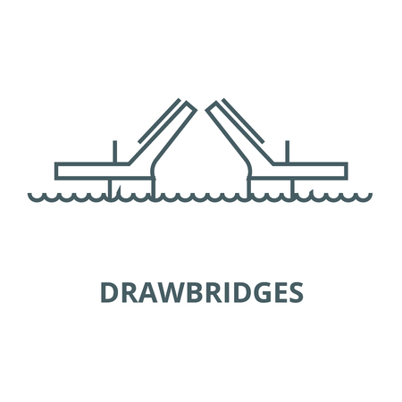 Bridges,drawbridges line icon, vector. Bridges,drawbridges outline sign, concept symbol, illustration