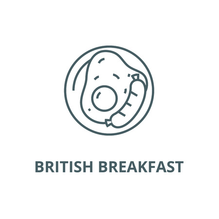 British breakfast line icon, vector. British breakfast outline sign, concept symbol, illustration