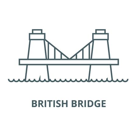 British bridge line icon, vector. British bridge outline sign, concept symbol, illustration