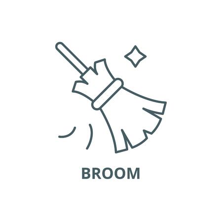 Broom line icon, vector. Broom outline sign, concept symbol, illustration Ilustração