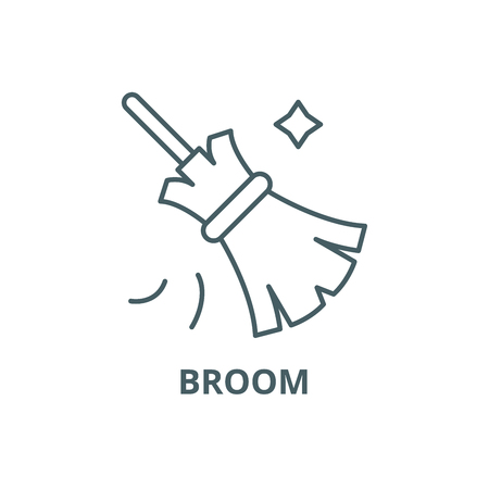 Broom line icon, vector. Broom outline sign, concept symbol, illustration Illustration