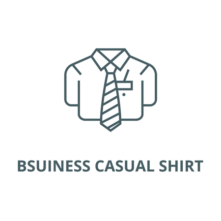 Bsuiness casual shirt line icon, vector. Bsuiness casual shirt outline sign, concept symbol, illustration