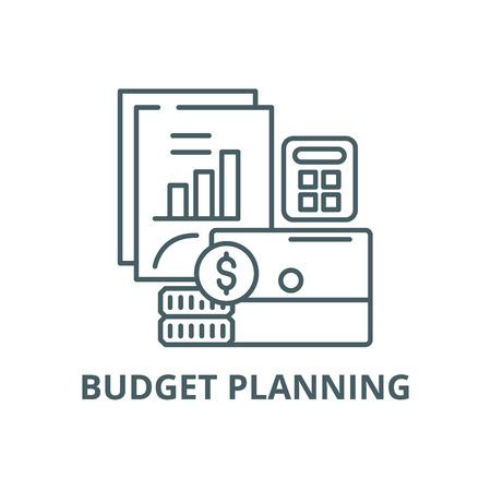 Budget planning line icon, vector. Budget planning outline sign, concept symbol, illustration Illustration
