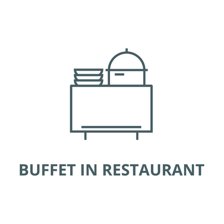 Buffet in restaurant line icon, vector. Buffet in restaurant outline sign, concept symbol, illustration
