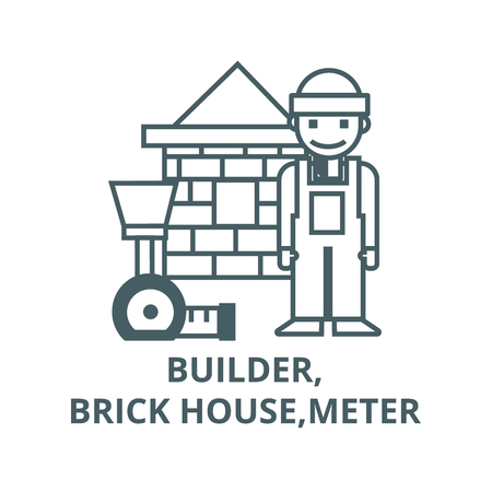 Builder,brick house,meter line icon, vector. Builder,brick house,meter outline sign, concept symbol, illustration