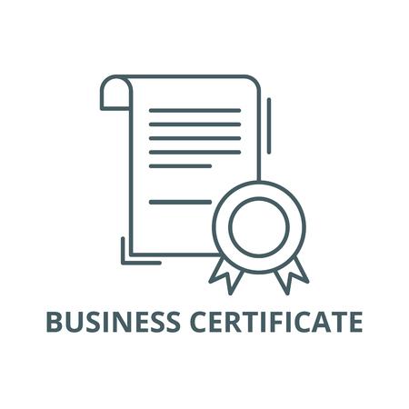 Icône de ligne de certificat d'entreprise, vecteur. Signe de contour de certificat d'entreprise, symbole de concept, illustration Vecteurs