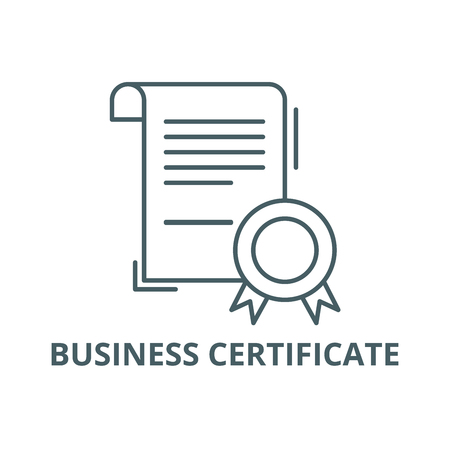 Business certificate line icon, vector. Business certificate outline sign, concept symbol, illustration Illustration