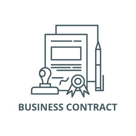 Business contract line icon, vector. Business contract outline sign, concept symbol, illustration Иллюстрация