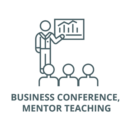 Business conference, mentor teaching line icon, vector. Business conference, mentor teaching outline sign, concept symbol, illustration