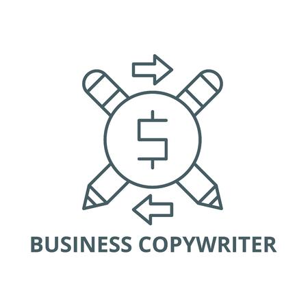 Business copywriter line icon, vector. Business copywriter outline sign, concept symbol, illustration