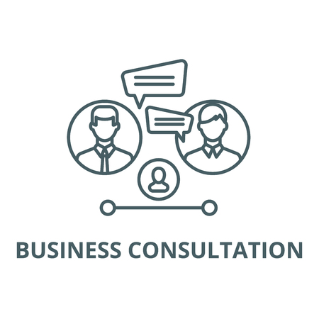 Business consultation line icon, vector. Business consultation outline sign, concept symbol, illustration 向量圖像