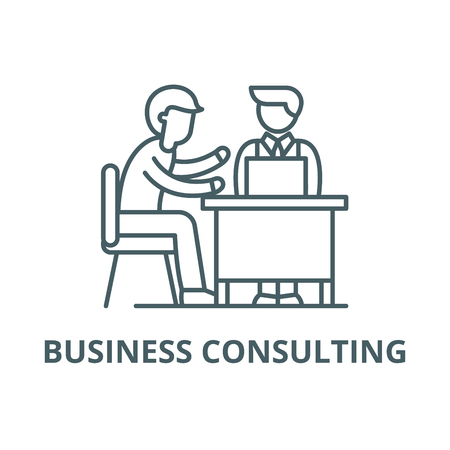 Business consulting line icon, vector. Business consulting outline sign, concept symbol, illustration