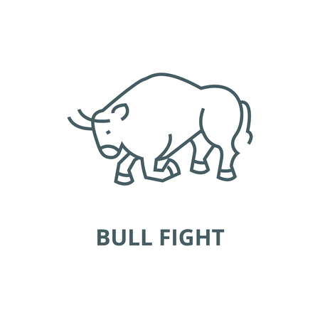 Bull fight,spain line icon, vector. Bull fight,spain outline sign, concept symbol, illustration