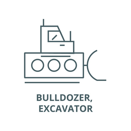 Bulldozer, excavator line icon, vector. Bulldozer, excavator outline sign, concept symbol, illustration
