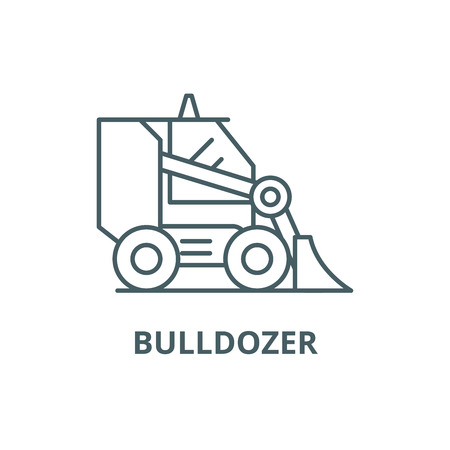Bulldozer line icon, vector. Bulldozer outline sign, concept symbol, illustration Illustration