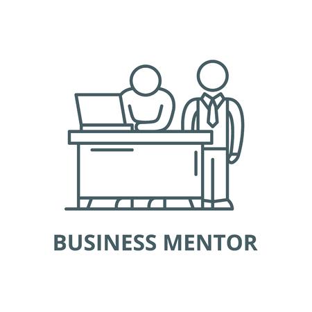 Business mentor line icon, vector. Business mentor outline sign, concept symbol, illustration