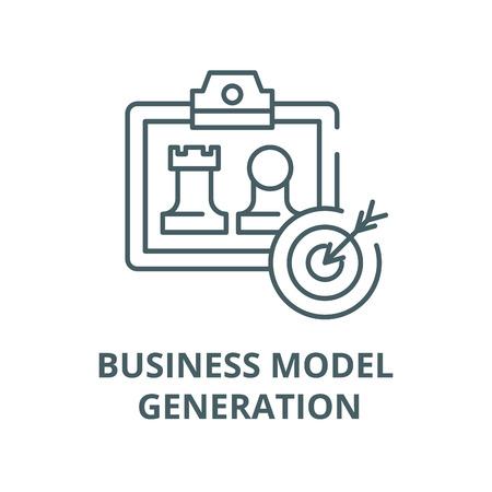 Business model generation line icon, vector. Business model generation outline sign, concept symbol, illustration Stock Illustratie
