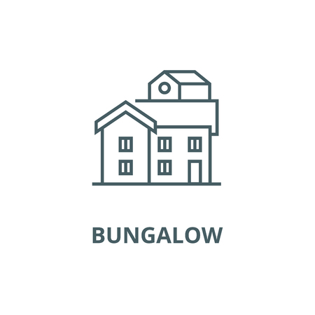 Bungalow line icon, vector. Bungalow outline sign, concept symbol, illustration  イラスト・ベクター素材