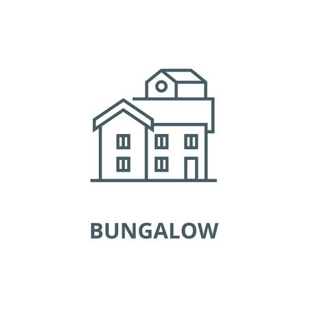 Bungalow line icon, vector. Bungalow outline sign, concept symbol, illustration Ilustração