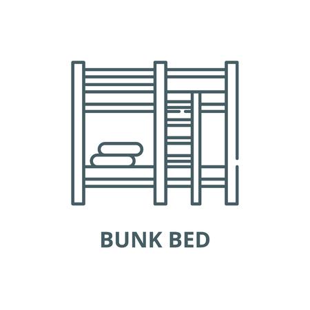 Bunk bed line icon, vector. Bunk bed outline sign, concept symbol, illustration Illusztráció