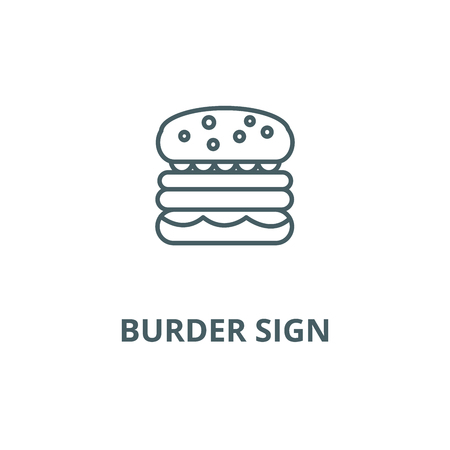 Burder sign line icon, vector. Burder sign outline sign, concept symbol, illustration Banco de Imagens - 120734169
