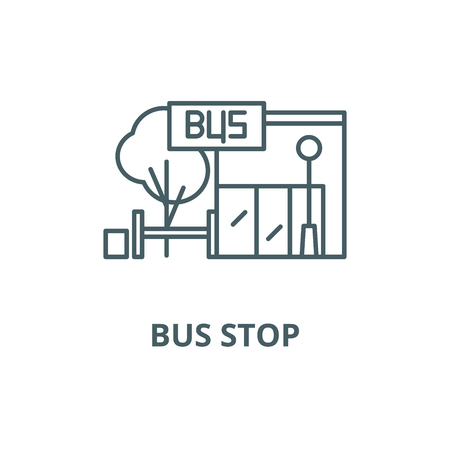 Bus stop line icon, vector. Bus stop outline sign, concept symbol, illustration