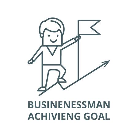 Businenessman achivieng goal,flag  line icon, vector. Businenessman achivieng goal,flag  outline sign, concept symbol, illustration Çizim