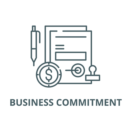 Business commitment line icon, vector. Business commitment outline sign, concept symbol, illustration Çizim