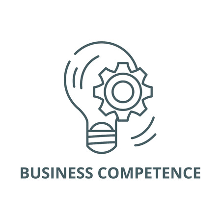 Business competence line icon, vector. Business competence outline sign, concept symbol, illustration