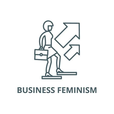 Business feminism line icon, vector. Business feminism outline sign, concept symbol, illustration Illustration