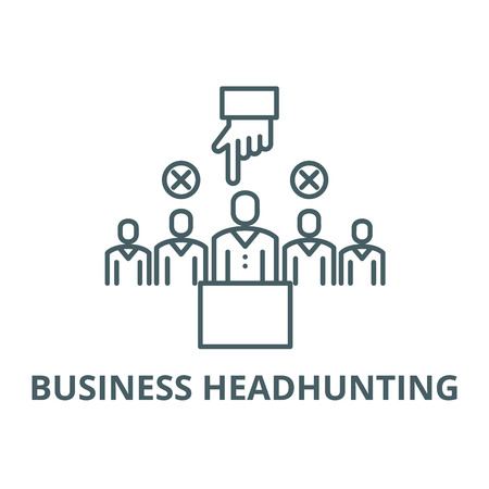 Business headhunting line icon, vector. Business headhunting outline sign, concept symbol, illustration Illustration