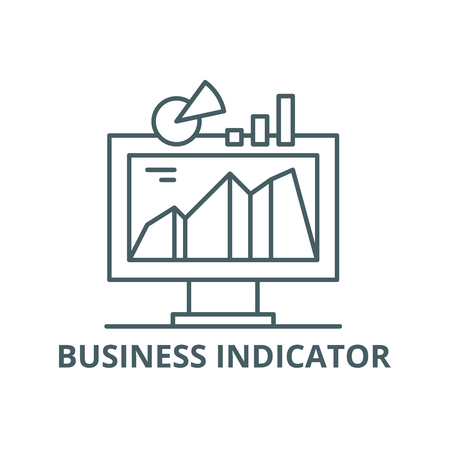 Business indicator system line icon, vector. Business indicator system outline sign, concept symbol, illustration